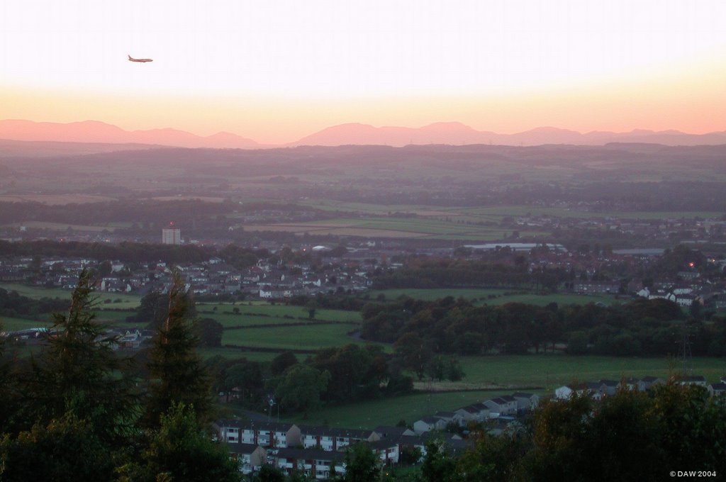 Final Approach, aircraft landing at Glasgow Airport seen from Gleniffer braes
