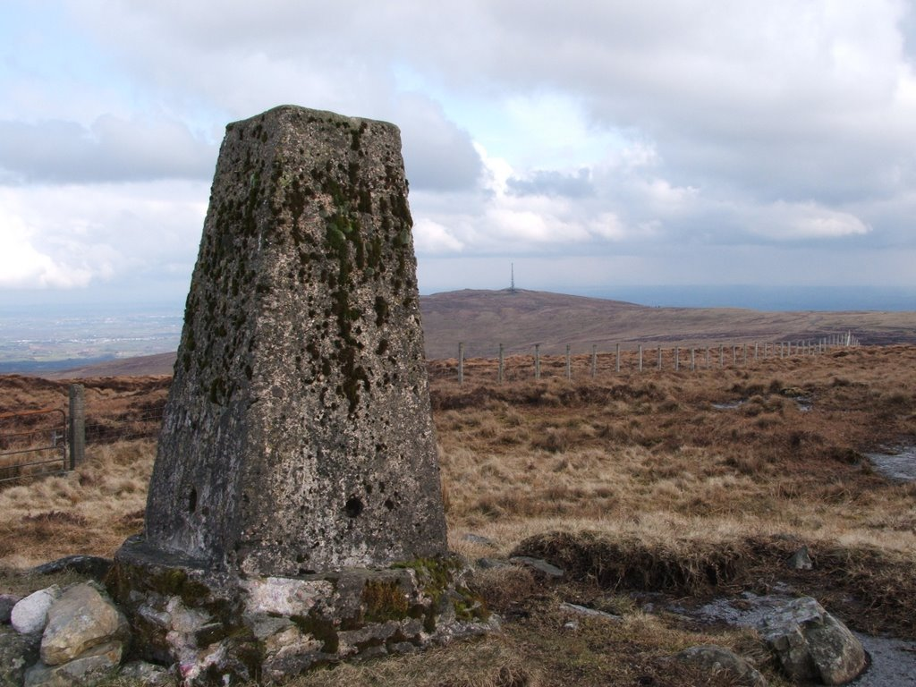 Tintagh Mountain Trig Point, with radio mast of Slieve Gallion in background