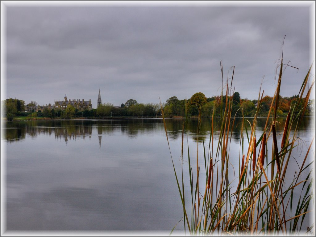 Brownlow House seen across Lurgan Park Lake