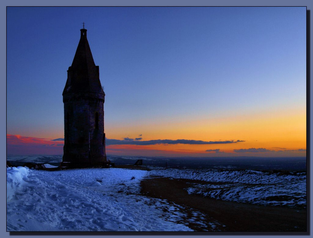 Hartshead Pike at dusk.