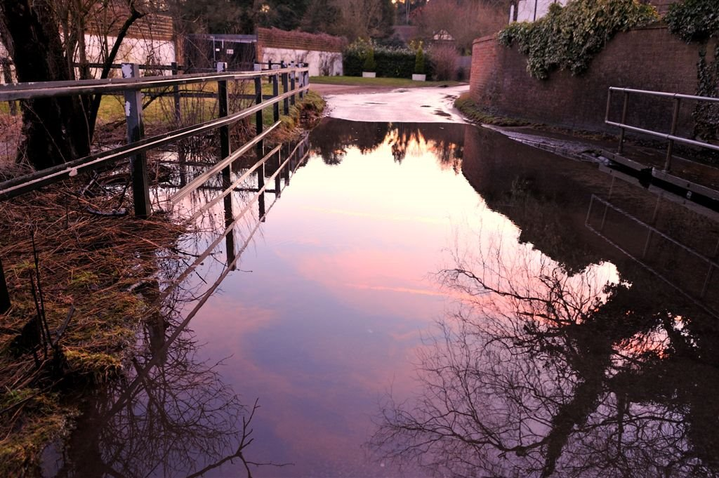 River Misbourne Ford at Mill Lane Chalfont St Giles ~ Sunset reflections