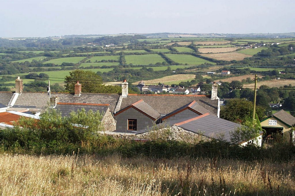 View towards Lanner from Pennance Road, on lower slope of Carn Marth, Cornwall, UK