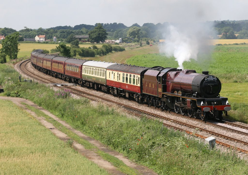LMS Princess class Pacific No.6201 PRINCESS ELIZABETH on 1Z51 Coast to Coast Express Liverpool - Scarborough at A64 Malton By-pass 4th July 2009