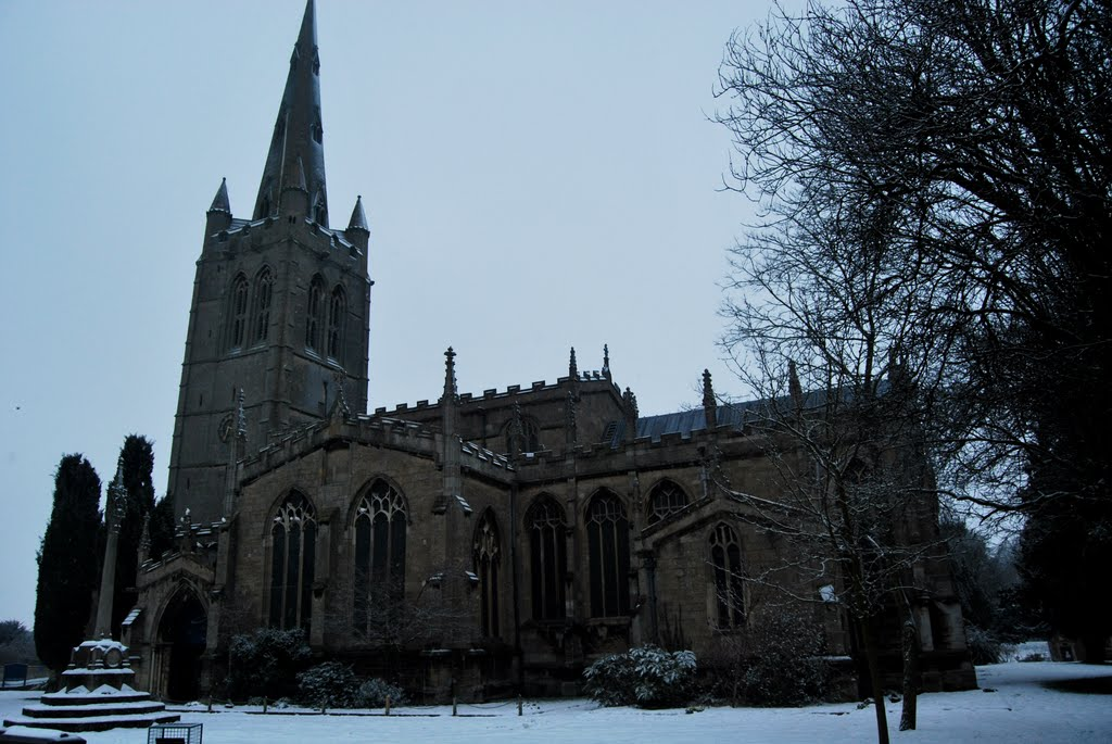 Oakham All Saints Church in winter snow