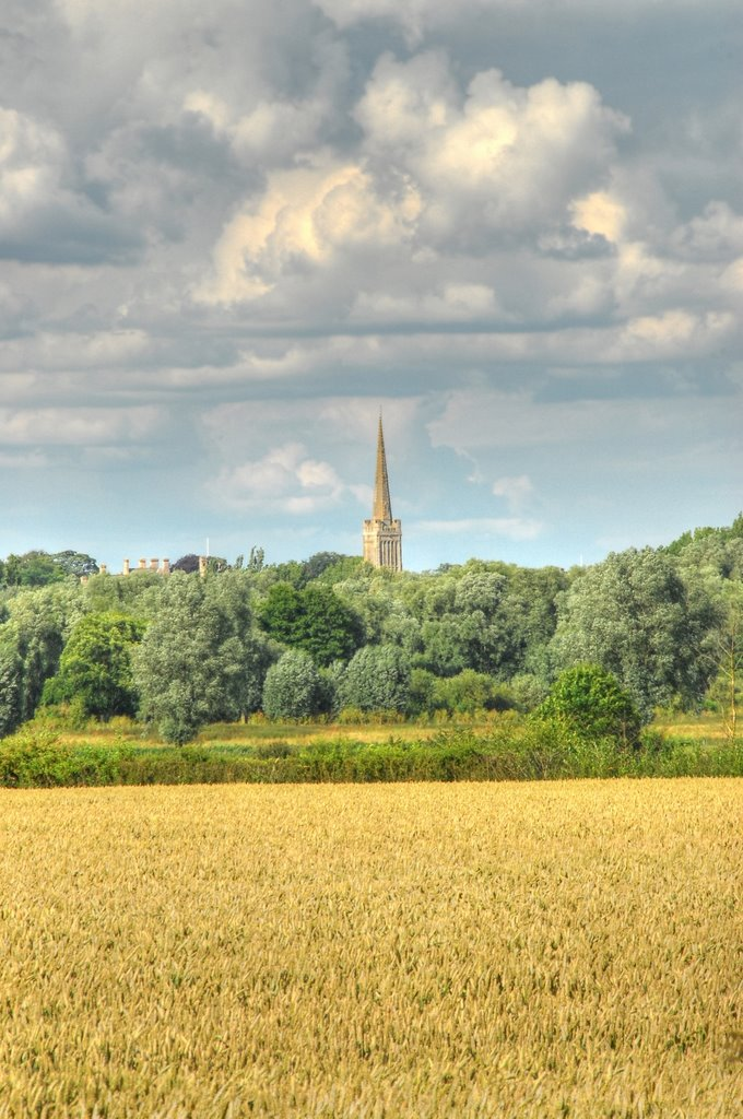 Oundle Church from Stoke Doyle
