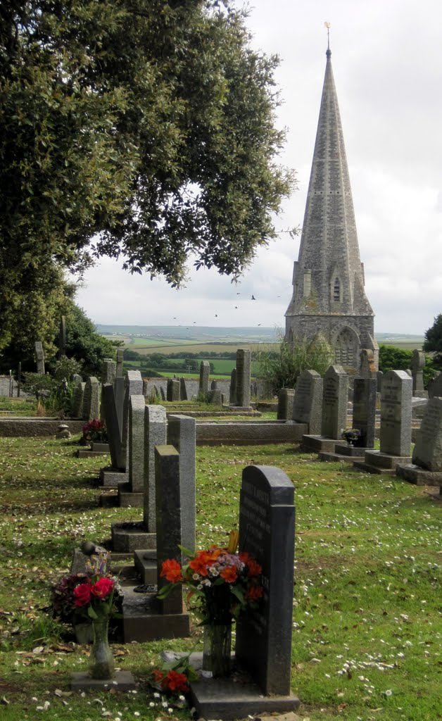 St Minver Church Spire & Graveyard