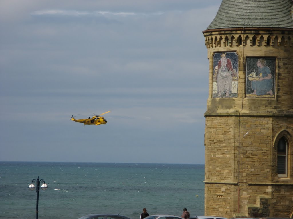 Westland Sea King search and rescue helicopter over Aberystwyth, Ceredigion, Wales