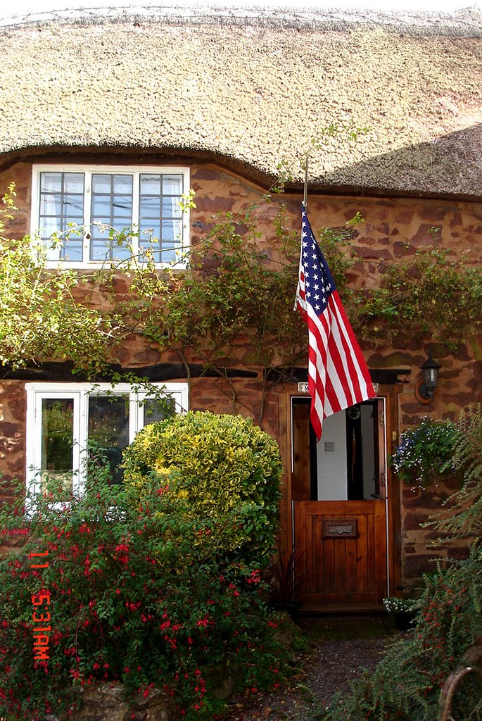 Thatched Cottage (England) Flies American Flag on September 11, 2009