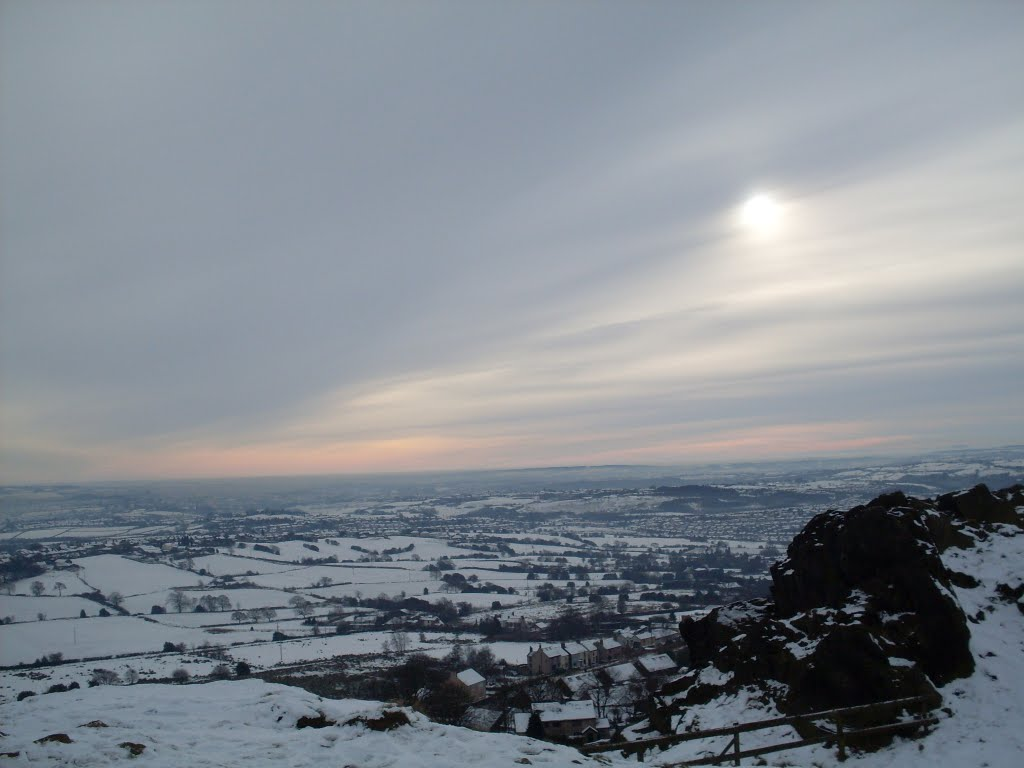 Mow Cop. Winter  Sun.