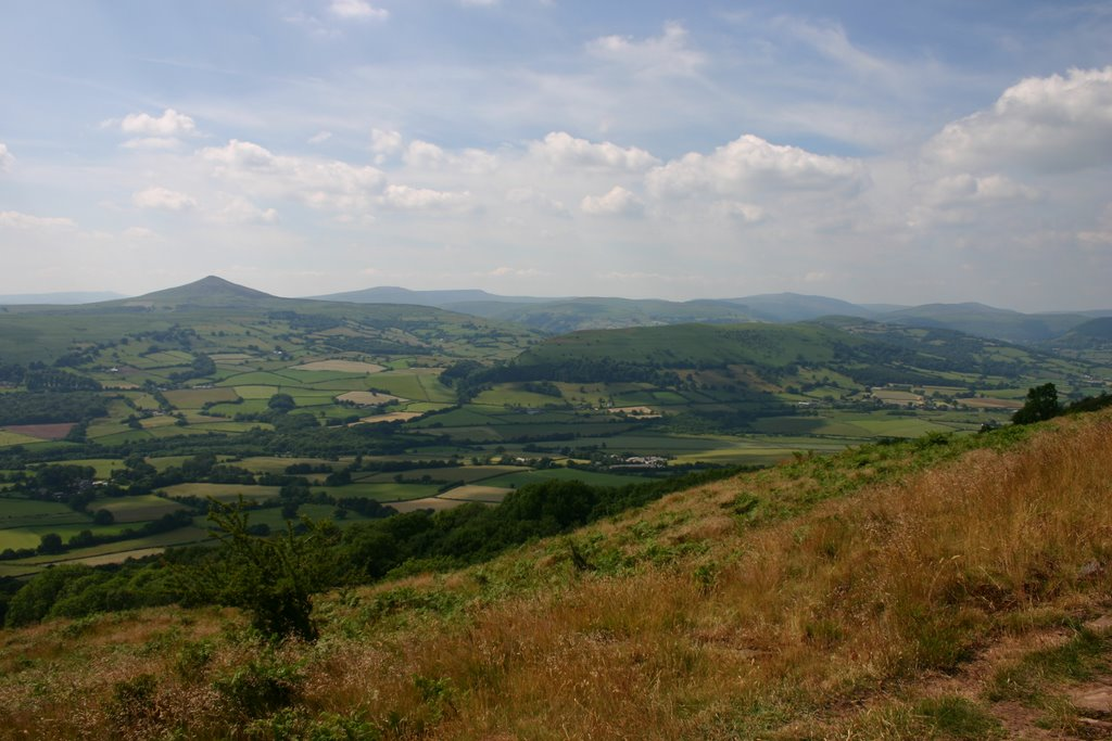 Pen y Fal (The Sugarloaf) and the Black Mountains from Ysgyryd Fawr (Skirrid Fawr)