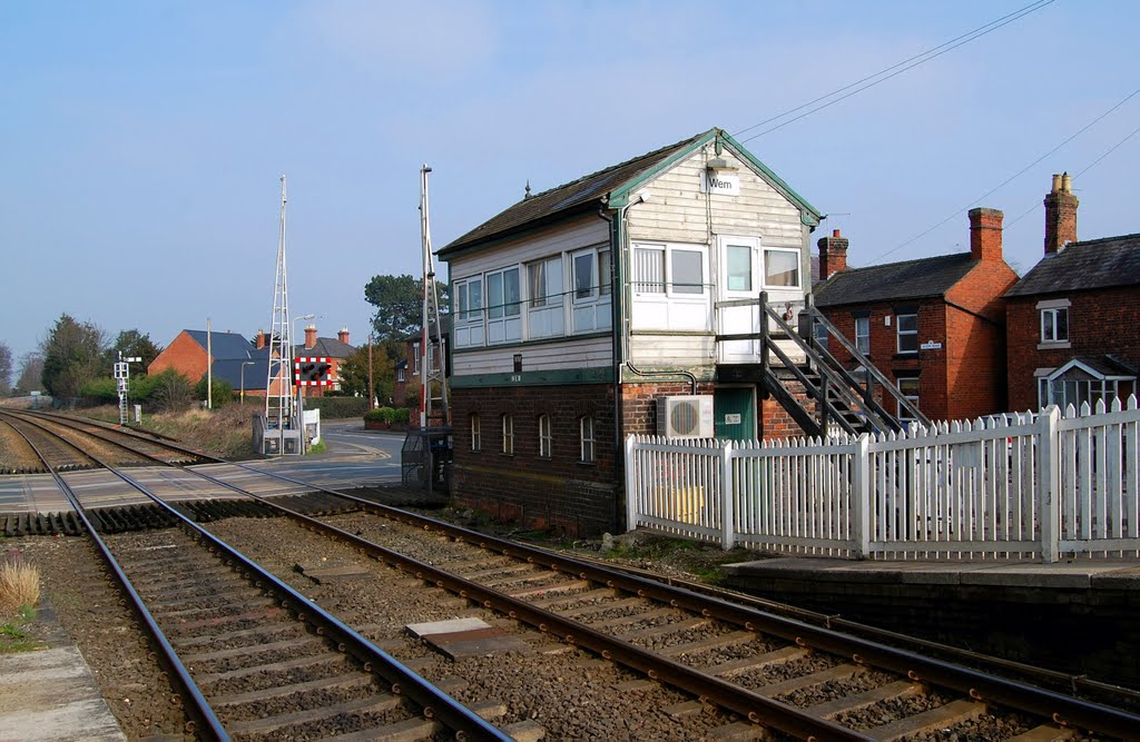 Wem Signal box.  This side for Crewe.