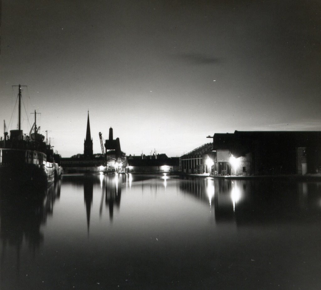 Goole docks U.K. by night 1958