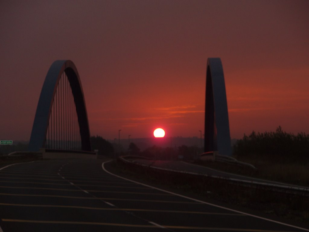 Sunrise over new bridge at Toome
