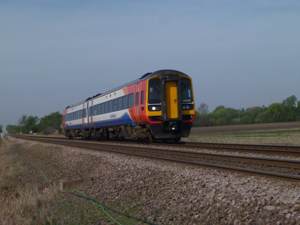 an EMT class 158 heads for norwich at eastrea