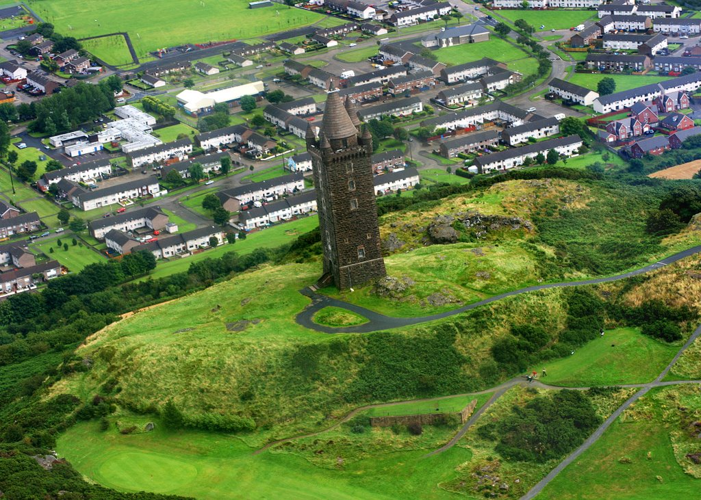 Scrabo Tower Newtownards Co Down from the air