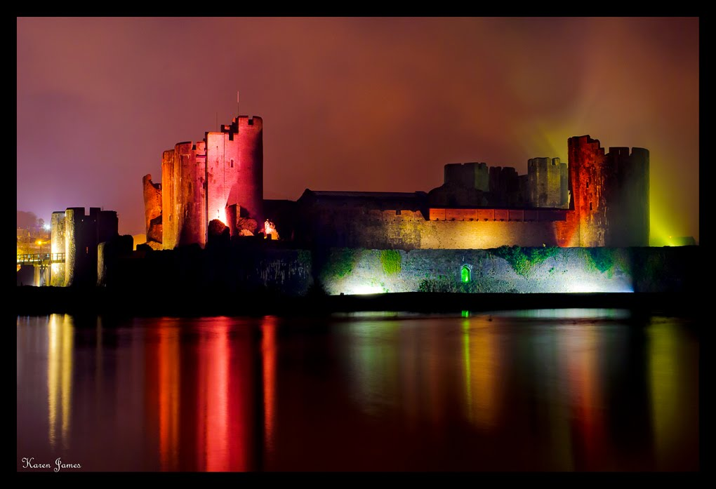 Caerphilly Castle at Night