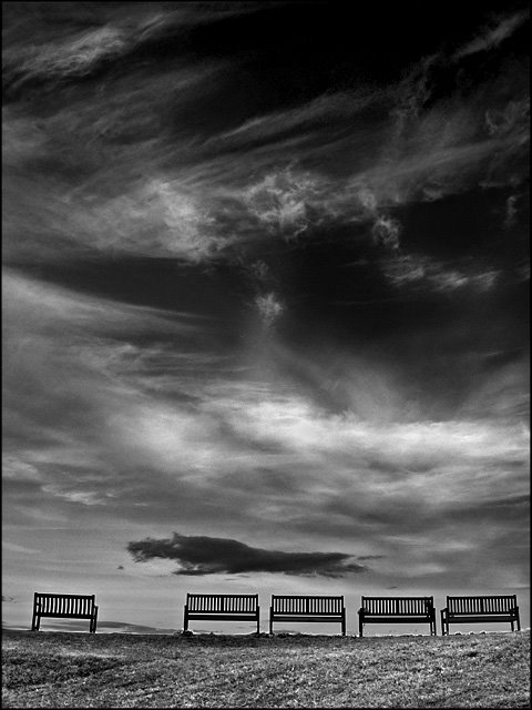 Skies and the memorial seats