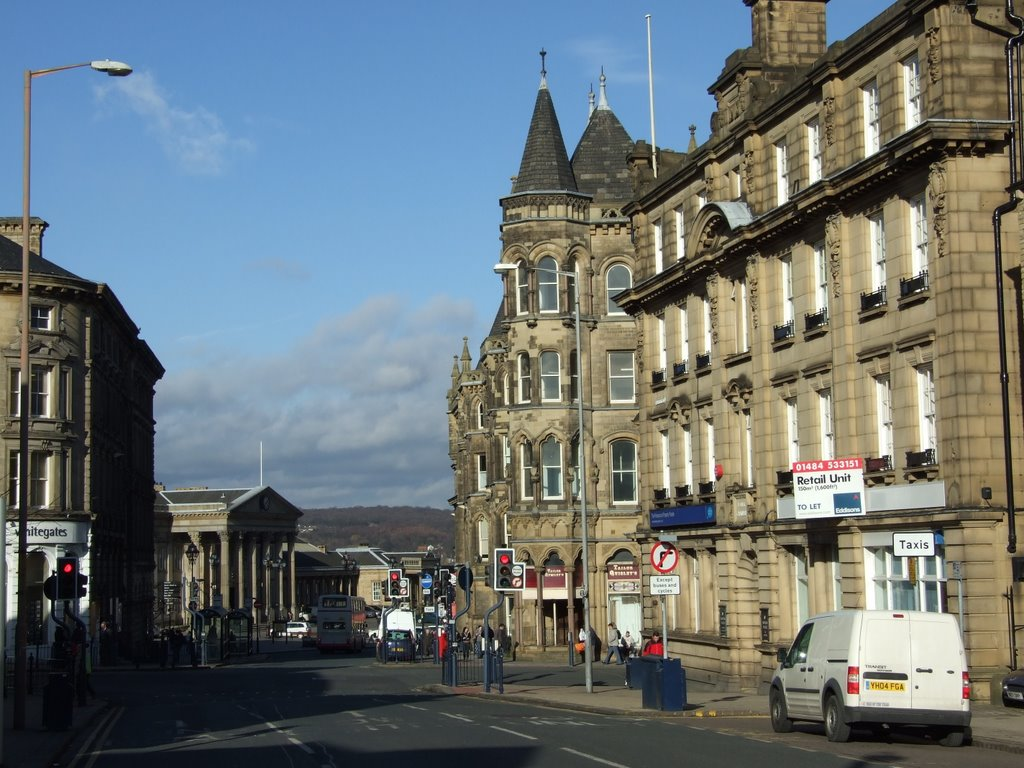 Railway station and Estate Offices from Market Street, Huddersfield