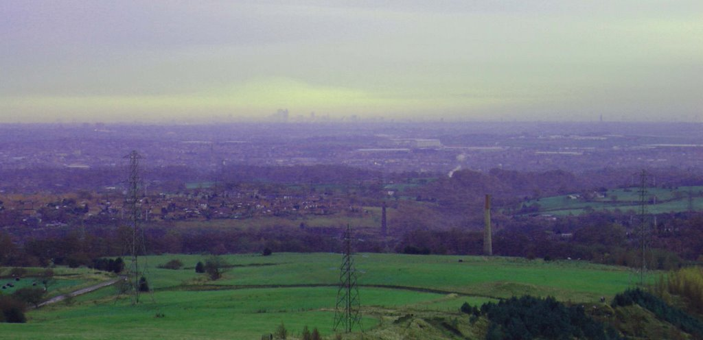 Rochdale. Looking at Manchester skyline.