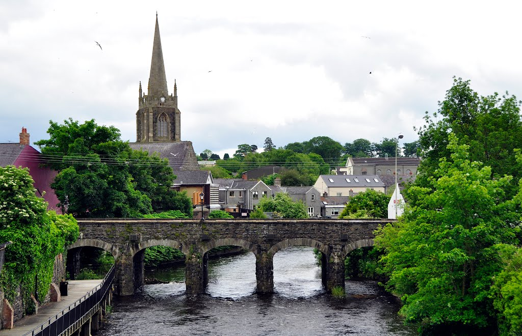 Antrim. Antrim bridge with first presbyterian church in the back.