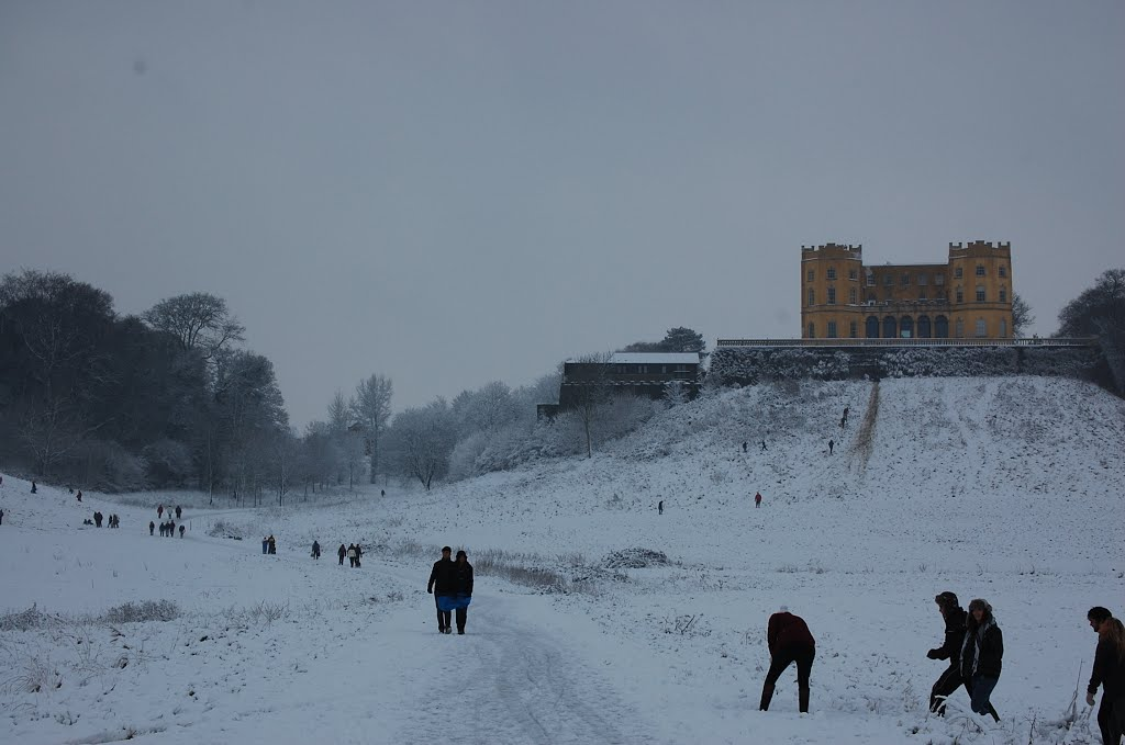 People enjoying the snow near Dower house in Stoke Park State.