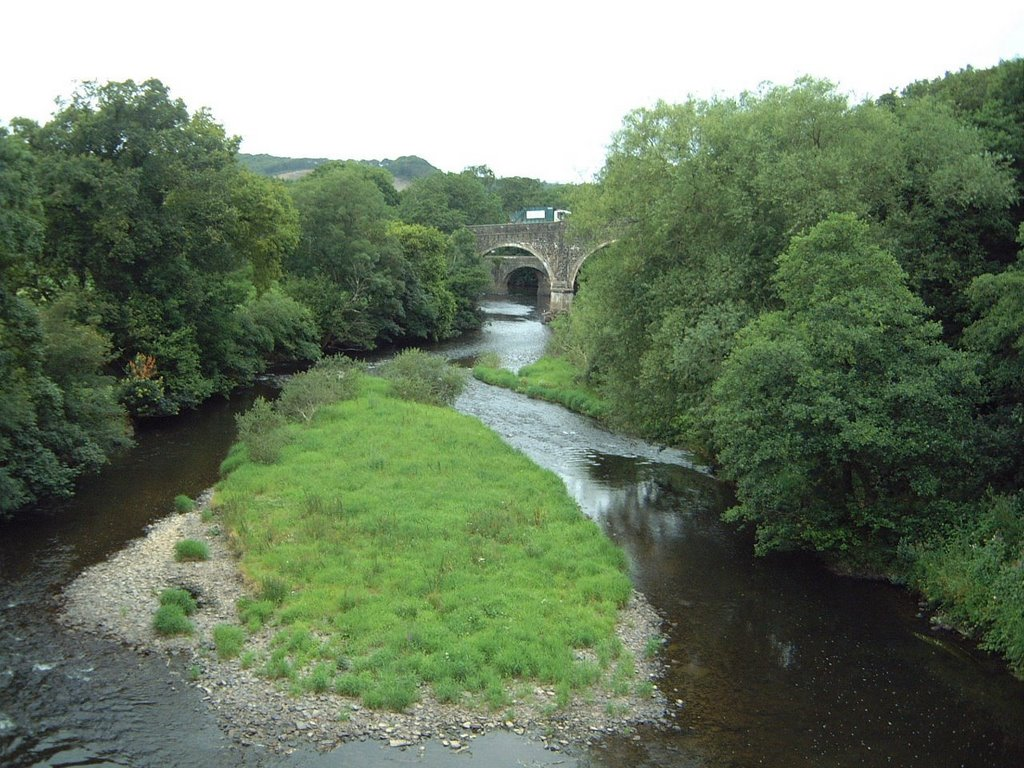 Great Torrington, Rolle Bridge, River Torridge  from the Tarka Trail cycle path