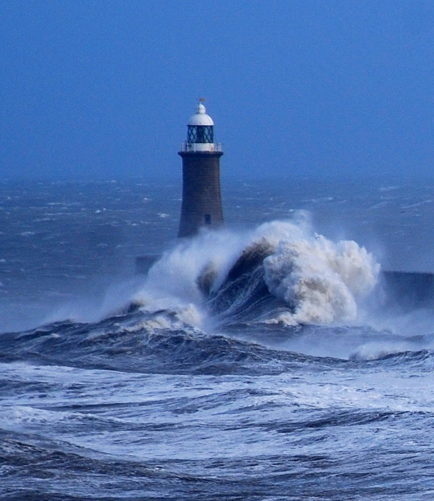 Large wave hits the North Pier, Tynemouth