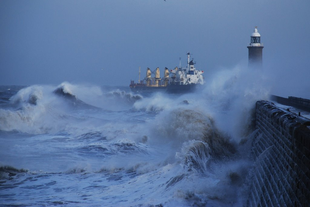 Large ship leaving the Tyne in stormy weather
