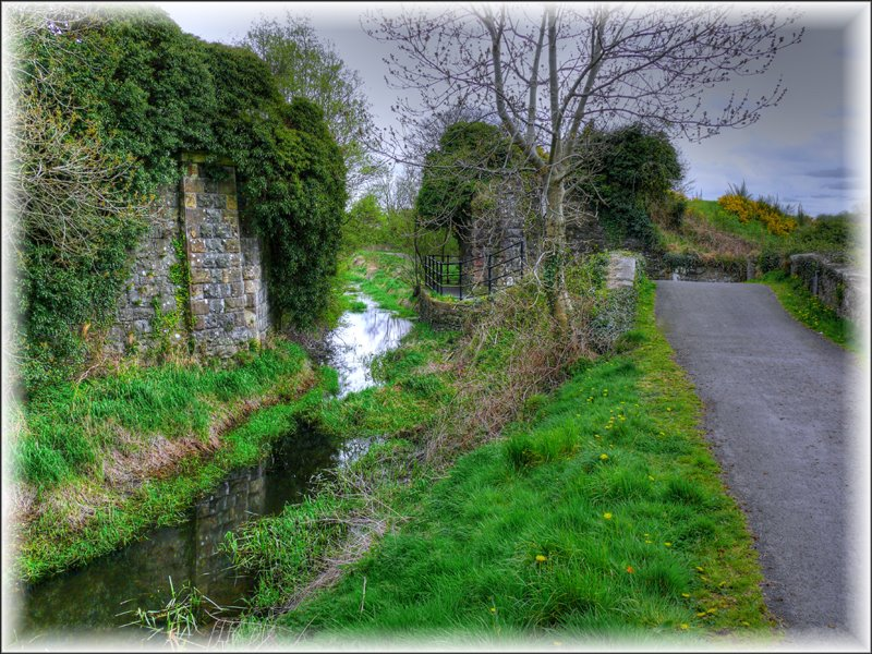 The remains of the Cusher River Aquaduct and Railway Viaduct crossing the Newry Canal