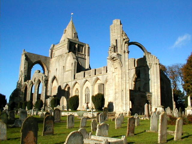 Crowland Abbey in autumn sun
